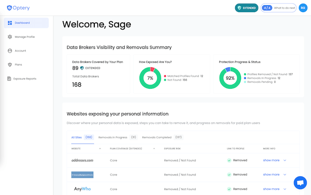 Optery Data Broker Opt Out Dashboard